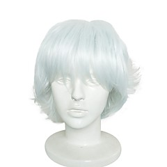 cheap Wigs & Hair Pieces-Synthetic Wig / Synthetic Extentions Men's / Women's Curly White Layered Haircut Synthetic Hair Anime / Synthetic / New Arrival White Wig Short Capless White / Natural Hairline / Natural Hairline