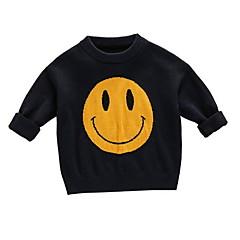 billige Sweaters og cardigans til drenge-Børn Drenge Aktiv Trykt mønster Langærmet Polyester Trøje og cardigan Sort