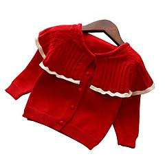 billige Sweaters og cardigans til piger-Børn Pige Basale Jul / Daglig Ensfarvet Langærmet Normal Polyester Trøje og cardigan Rød