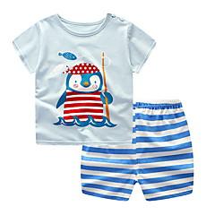 billige Tøjsæt til drenge-Børn Drenge Aktiv Daglig Stribet / Trykt mønster Trykt mønster Kortærmet Normal Bomuld Tøjsæt Blå