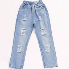 baratos Roupas de Meninos-Infantil Para Meninos Básico Sólido rasgado Algodão Jeans