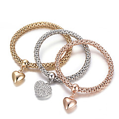 cheap Bracelets-Women's Layered Stack Stacking Stackable Charm Bracelet Bracelet Bangles Rhinestone Imitation Diamond Heart Love Ladies Luxury European Simple Style Fashion Bracelet Jewelry Rainbow For Gift Daily