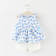 billige Babytøj-Baby Pige Citron Frugt Uden ærmer Tøjsæt