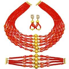 baratos Conjuntos de Bijuteria-Mulheres Camadas Conjunto de jóias - Pêra Fashion Incluir Strands Necklace Verde / Rosa / Champanhe Para Diário
