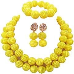 baratos Conjuntos de Bijuteria-Mulheres Camadas Conjunto de jóias - Bola Fashion Incluir Pulseiras Strand Verde / Rosa claro / Rosa Para Casamento
