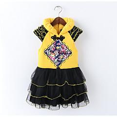 baratos Roupas de Meninas-Infantil Para Meninas Floral Manga Curta Vestido