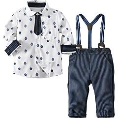 billiga Babykläder Pojkar-Bebis Pojkar Grundläggande Dagligen Tryck Tryck Långärmad Normal Bomull Klädesset Vit / Småbarn