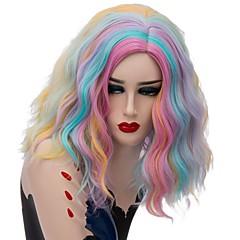 tanie Peruki syntetyczne-Wig Accessories Falisty Różowy Środkowa cześć Włosy syntetyczne Modny design Niebieski / Różowy Peruka Damskie Krótki Bez czepka