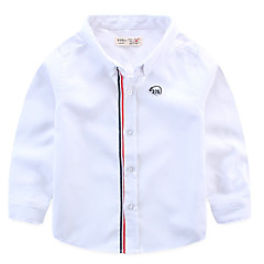 cheap Boys' Tops-Toddler Boys' Basic Color Block Long Sleeve Polyester Shirt Blue