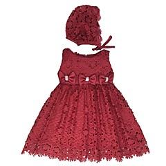 billige Babykjoler-Baby Pige Vintage Jul / I-byen-tøj / Fødselsdag Ensfarvet Uden ærmer Knælang Bomuld / Polyester Kjole Hvid