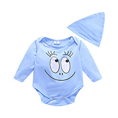 billige Babytøj-2stk Baby Pige Basale Ensfarvet Langærmet Bomuld En del