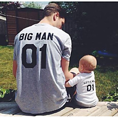 billige Sett med familieklær-Voksen / Barn Pappa og meg Grunnleggende Ensfarget / Bokstaver Kortermet T-skjorte