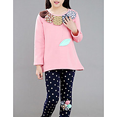 billige Pigetoppe-Børn Pige Basale Ensfarvet / Blomstret Langærmet Bomuld / Polyester Bluse Lyserød 130