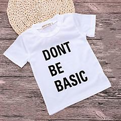 billige Babyoverdele-Baby Pige Basale Ensfarvet Kortærmet Polyester T-shirt Hvid