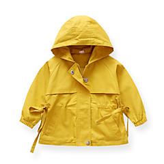 billige Overtøj til babyer-Baby Pige Vintage Ensfarvet Langærmet Bomuld Trenchcoat