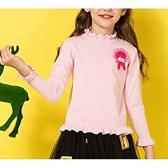 billige Sweaters og cardigans til piger-Børn Pige Basale Ensfarvet Patchwork Langærmet Bomuld Trøje og cardigan