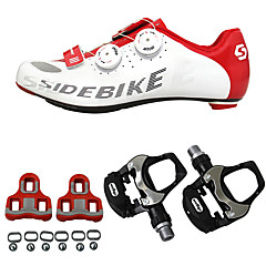 billige Sykkelsko-SIDEBIKE Voksne Sykkelsko med pedal og tåjern / Veisykkelsko Karbonfiber Demping Sykling Rød / Hvit Herre