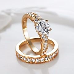 billige Motering-Par Kubisk Zirkonium Vintage Stil Elegant Forlovelsesring Ring Set - Krone Stilfull, Vintage, Romantikk 5 / 6 / 7 / 8 / 9 Gull Til Gave Valentine / 2pcs
