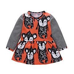 billige Babykjoler-Baby Pige Trykt mønster Langærmet Kjole