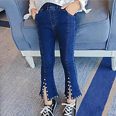 billige Jeans til piger-Børn Pige Gade I-byen-tøj Ensfarvet Perler Jeans