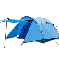 billige Telt og ly-BSwolf 3 person Familie Camping Telt Dobbelt Lagdelt Stang camping Tent Utendørs Vindtett, Regn-sikker, Pusteevne til Fisking / Klatring / Strand 2000-3000 mm Oxfordtøy, Terylene, Vanntett materiale