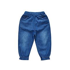 billige Babyunderdele-Baby Pige Vintage Ensfarvet Bomuld Jeans
