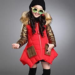 billige Jakker og frakker til piger-Børn Pige Aktiv / Gade I-byen-tøj Patchwork Patchwork Langærmet Lang PU dun- og bomuldsforet