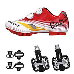 billige Sykkelsko-SIDEBIKE Voksne Sykkelsko med pedal og tåjern / Mountain Bike-sko Nylon Demping Sykling Rød Herre