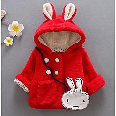 billige Jakker og frakker til piger-Baby Pige Basale Ensfarvet Langærmet Normal Polyester dun- og bomuldsforet Rød