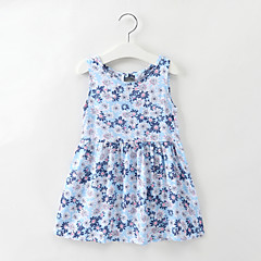 baratos Roupas de Meninas-Infantil / Bébé Para Meninas Margarida Floral Sem Manga Vestido