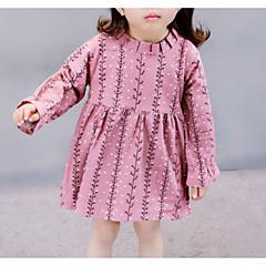 billige Babykjoler-Baby Pige Basale Prikker Patchwork Langærmet Bomuld / Polyester Kjole Lyserød