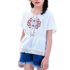 billige Jenteklær-Barn Jente Blomstret Kortermet T-skjorte