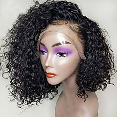 cheap Synthetic Lace Wigs-Synthetic Wig / Synthetic Lace Front Wig Women's Curly Black Side Part Synthetic Hair 12 inch with Baby Hair / Natural Hairline / Side Part Black Wig Short Lace Front Natural Black Dark Brown / Yes