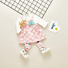billige Sett med babyklær-Baby Pige Vintage / Basale Daglig / I-byen-tøj Prikker Drapering Langærmet Normal Bomuld / Akryl Tøjsæt Lyserød