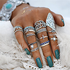 billige Motering-Par Turkis Retro Ring / Nail Finger Ring / Midi Ring - Blad Formet, Blomst Statement, Bohemsk, Punk Sølv Til Halloween / Aftenselskap / 18pcs