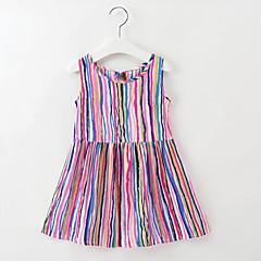 baratos Roupas de Meninas-Infantil / Bébé Para Meninas Listrado / Arco-Íris Sem Manga Vestido