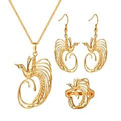 baratos Conjuntos de Bijuteria-Mulheres Conjunto de jóias - Pássaro Vintage Incluir Brincos em Argola Colares com Pendentes Anel Dourado Para Presente Diário