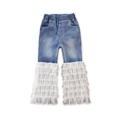 billige Bukser og leggings til piger-Baby Pige Aktiv / Basale Daglig / Ferie Ensfarvet Blonder / Lag-på-lag / Flettet Polyester / Spandex Jeans Blå 100