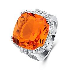billige Motering-Dame Kubisk Zirkonium Stable Ring - Platin Belagt Oversized 6 / 7 / 8 Oransje Til Aftenselskap