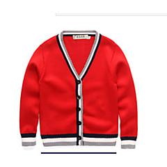 billige Sweaters og cardigans til drenge-Børn Drenge Basale Daglig Ensfarvet / Farveblok Langærmet Normal Bomuld / Polyester Trøje og cardigan Rød