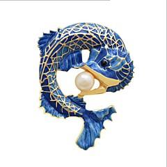billige Motebrosjer-Dame Elegant Nåler - Imitert Perle Fisk damer, Stilfull, Klassisk Brosje Smykker Blå Til Daglig