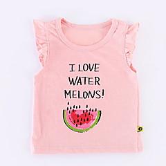 billige Babyoverdele-Baby Pige Basale Ensfarvet / Trykt mønster / Frugt Kortærmet Bluse