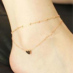 baratos Bijoux de Corps-Camadas tornozeleira - Coração, Por sorte Básico, Fashion Dourado Para Diário Escola Mulheres