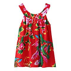 billige Pigetoppe-Børn / Baby Pige Aktiv / Basale Daglig / I-byen-tøj Blomstret / Trykt mønster / Jacquard Vævning Trykt mønster Uden ærmer Bomuld T-shirt Grøn 130