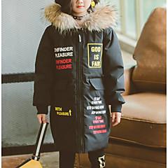 tanie Odzież dla dziewczynek-Dzieci Dla dziewczynek Podstawowy / Moda miejska Codzienny / Wyjściowe Nadruk Futrzane wykończenie / Nadruk Długi rękaw Długie Poliester Odzież puchowa / pikowana Czarny 140
