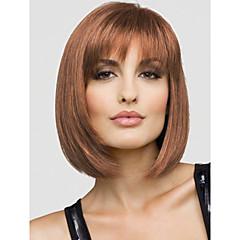 cheap Wigs & Hair Pieces-Human Hair Capless Wigs Human Hair Straight Bob Haircut With Bangs Short Capless Wig Women's