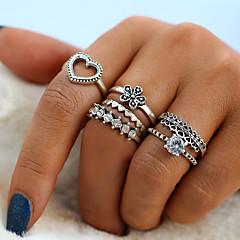 billige Motering-Dame Krystall Vintage Stil Ring Ring Set - Legering Hjerte, Blomst Vintage, Mote 6 Sølv Til Daglig Gate