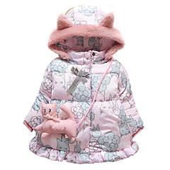 billige Overtøj til babyer-Baby Pige Blomstret / Trykt mønster Langærmet dun- og bomuldsforet