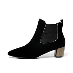 cheap Women's Heels-Women's Bootie Nappa Leather Fall Heels Block Heel Pointed Toe Booties / Ankle Boots Satin Flower Black