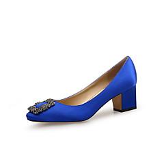 cheap Women's Heels-Women's Slingback Satin Spring & Summer Minimalism Heels Block Heel Round Toe Crystal Black / Red / Blue / Wedding / Daily / Pumps